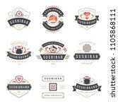 sushi restaurant logos set... | Shutterstock .eps vector #1105868111