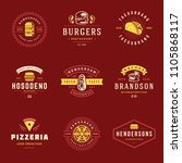 fast food logos set vector... | Shutterstock .eps vector #1105868117