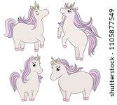 cute unicorn set chubby magic... | Shutterstock .eps vector #1105877549