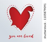 greeting card with a red heart... | Shutterstock .eps vector #1105879091
