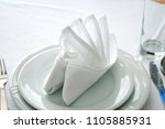 napkins in the shape of a ship... | Shutterstock . vector #1105885931