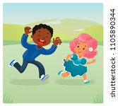 girl and boy plaing catch up... | Shutterstock .eps vector #1105890344