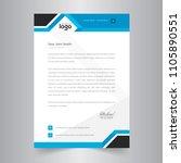 simple blue color vector letter ... | Shutterstock .eps vector #1105890551