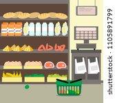 supermarket shelves with food... | Shutterstock .eps vector #1105891799