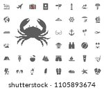 crab icon. summer holidays and... | Shutterstock .eps vector #1105893674
