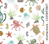 seamless pattern with sea... | Shutterstock .eps vector #1105895807