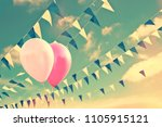 pink air balloons on sky... | Shutterstock . vector #1105915121