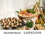 beautifully decorated catering... | Shutterstock . vector #1105921934