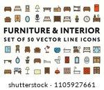 furniture interior minimal... | Shutterstock .eps vector #1105927661