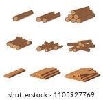 wooden logs. brown bark of... | Shutterstock .eps vector #1105927769