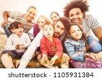 happy multiracial families... | Shutterstock . vector #1105931384