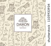 background with daikon  root... | Shutterstock .eps vector #1105933934