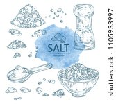collection of salt  spoon with... | Shutterstock .eps vector #1105933997