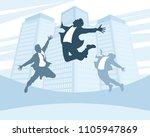 joyful men on the background of ... | Shutterstock .eps vector #1105947869