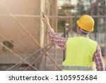 civil engineer wearing safety... | Shutterstock . vector #1105952684