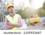 civil engineer wearing safety...   Shutterstock . vector #1105952687
