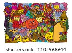 halloween party. hand drawing... | Shutterstock .eps vector #1105968644