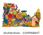 halloween party. hand drawing... | Shutterstock .eps vector #1105968647