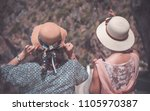 two sisters enjoying holidays...   Shutterstock . vector #1105970387