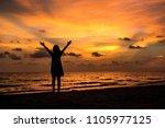 silhouette of asian girl on the ... | Shutterstock . vector #1105977125