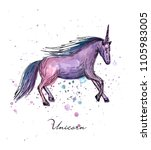 vector illustration. unicorn on ... | Shutterstock .eps vector #1105983005