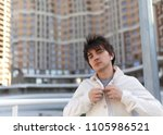 horizontal urban man portrait. | Shutterstock . vector #1105986521
