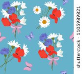 seamless summer pattern with... | Shutterstock .eps vector #1105989821