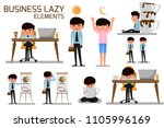 business man lazy and need more ... | Shutterstock .eps vector #1105996169