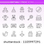 baby toy thin line icons set.... | Shutterstock .eps vector #1105997291
