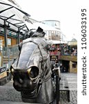 Small photo of Statue of an equine head at the entrance of Camden Lock Market, London, England, UK, November 18, 2011