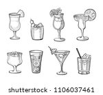 set of alcoholic cocktails hand ... | Shutterstock .eps vector #1106037461