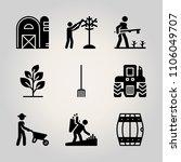 farm icon set. outdoor  silo ... | Shutterstock .eps vector #1106049707