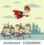 businessman with red cape fly... | Shutterstock .eps vector #1106068064