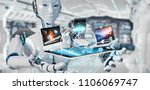 white cyborg on blurred... | Shutterstock . vector #1106069747