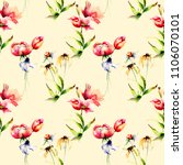 seamless wallpaper with spring...   Shutterstock . vector #1106070101