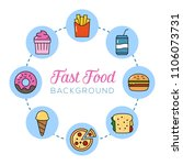 fast food background. can... | Shutterstock .eps vector #1106073731