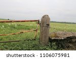 A Rusty Metal Gate Attached To...