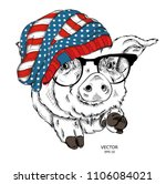 painted funny pig in hat with... | Shutterstock .eps vector #1106084021