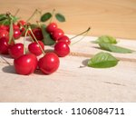 fresh cherry group with leaves... | Shutterstock . vector #1106084711