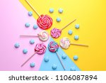 Multicolored Round Candy And...