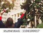 unrecognizable happy woman on... | Shutterstock . vector #1106100017