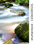 Small photo of rapids on river with rock in the forest fresh green fern above water
