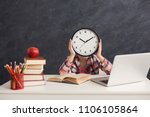 smart girl sitting with stack... | Shutterstock . vector #1106105864