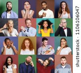 collage of emotional diverse... | Shutterstock . vector #1106106047