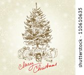 hand drawn vintage christmas... | Shutterstock .eps vector #110610635