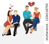 two couples of men and women.... | Shutterstock .eps vector #1106118704