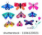 hand drawn moth and butterflies.... | Shutterstock .eps vector #1106123021