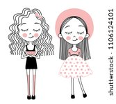 vector cute little girls.... | Shutterstock .eps vector #1106124101
