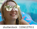 pool girl hotel   summer... | Shutterstock . vector #1106127011