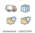 parcel delivery icons. fast... | Shutterstock .eps vector #1106127047